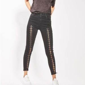 Topshop Front Lace Up Black Faded Jamie Jeans 30